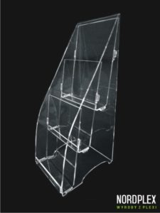 Stojak kaskadowy trzy kieszeniowy na ulotkę, reklamówkę, cennik - pion A6, A5, A4, DL KAS001